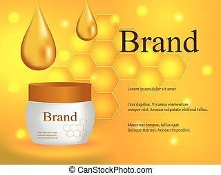 Cosmetics, face and body cream, honey lotion with a drop of honey and honeycombs on a gentle background, advertising, design, 3d vector, eps 10
