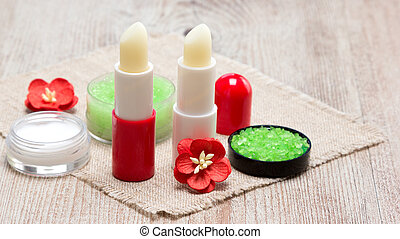 Cosmetics for lip skin care with copy space