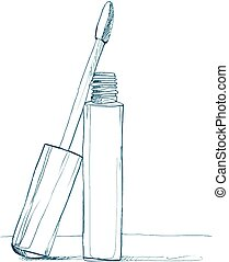 cosmetics for lips - lip gloss in a tube with an applicator for applying. sketch pen