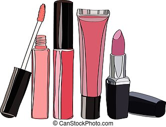 Cosmetics for Lips - lipstick and some lip gloss. vector illustration for cosmetic banners, brochures and promotional items