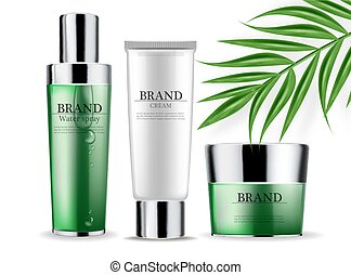 Cosmetics green cream and spray isolated Vector realistic. Product packaging mockup. Detailed bottles with label design. 3d template illustrations