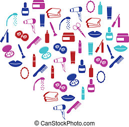 cosmetics icons in heart