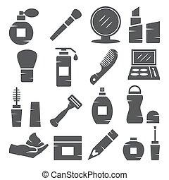 Cosmetics Icons on white background