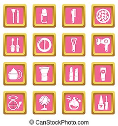 Cosmetics icons set pink square