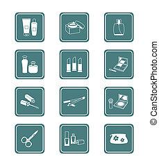 Cosmetics icons | TEAL series - Cosmetics, visage, make-up ...