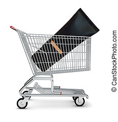 Cosmetics in shopping cart