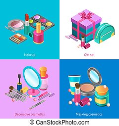 Cosmetics isometric set