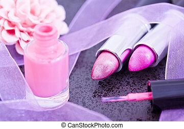 cosmetics: lipsticks and nail polish