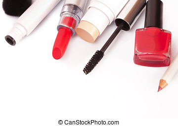 Cosmetics makeup on a white background