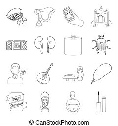 cosmetics, medicine, hunting and other web icon in outline style.music, racecourse, cooking icons in set collection.