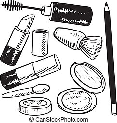 Cosmetics objects sketch - Doodle style makeup items sketch...