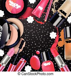 Cosmetics on black background