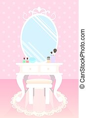 cosmetics on make up table in pink room polka dot wallpaper