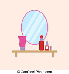 Cosmetics on the table .