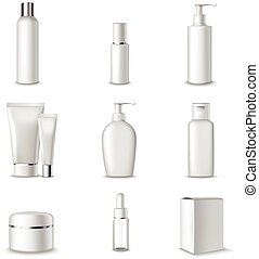 Cosmetics Packages Beauty Products Set Realistic 3d Isolated Vector Illustration