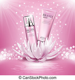 Cosmetics products advertising composition on pink sparkling background with lotus flower. Vector illustration