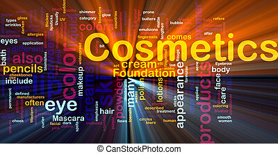 Cosmetics products background concept glowing