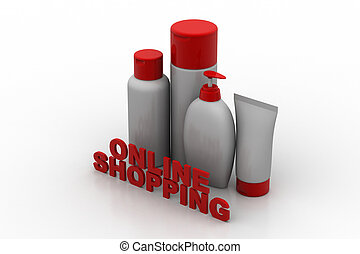 cosmetics products with online shopping concept