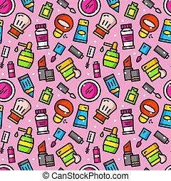 Cosmetics seamless pattern vector illustration