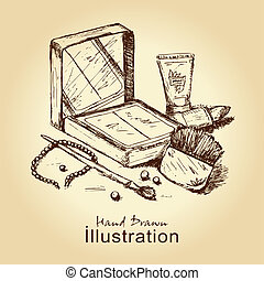 cosmetics set - hand drawn vintage card with cosmetics set,...