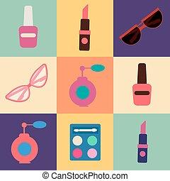 Cosmetics Set. Icons Set. Cosmetology. Fashion and Beauty. Perfume, Polish, Pomade. Female Beauty. Vector illustration. Flat Style