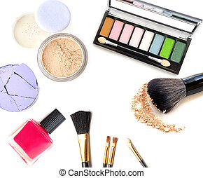 Cosmetics set isolated on white
