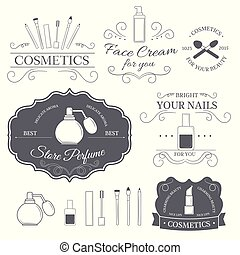 cosmetics set label template of emblem element for your product or design, web and mobile applications with text. Vector illustration with thin lines isolated icons on stamp symbol.