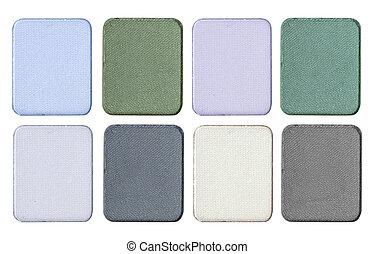 cosmetics set of colorful eye shadow isolated on white background