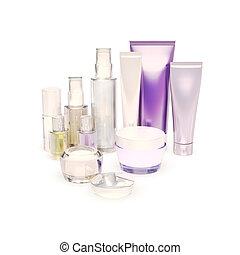 Cosmetics set on white background.
