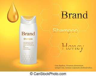 Cosmetics, shampoo honey, natural with a drop of honey and honeycomb on a gentle background, advertising, design, 3d vector realistic