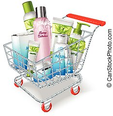 Supermarket shopping cart with cosmetic and hygiene products vector illustration