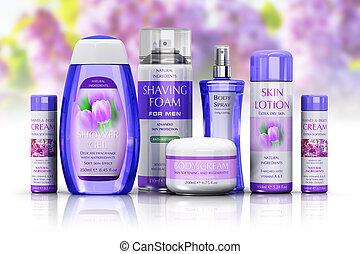 Cosmetics - Healthcare, body care and cosmetics concept: set...