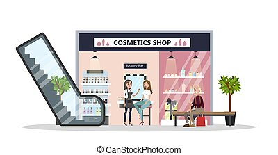 Cosmetics store in mall.