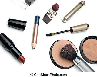 Cosmetics - used cosmetics over white, shot taken from above