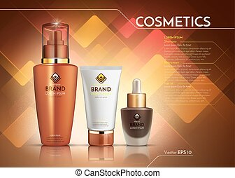 Cosmetics Vector realistic package ads template. Face cream...