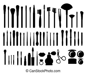 cosmetics - vector silhouette set for make-up on white ...
