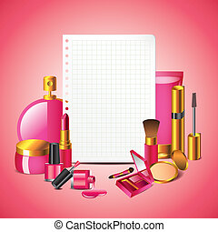 Cosmetics with blank paper vector background