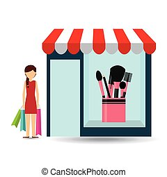 cosmetics woman buys gifts