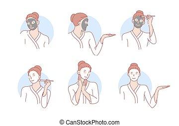 cosmetología, belleza, concepto, skincare, máscara, conjunto