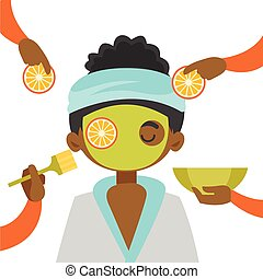 Hands of csmetologist applying orange and cosmetic mask on face of a young african-american client in beauty salon. Spa treatment and skin care concept. Vector cartoon illustration. Square layout.