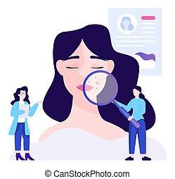 cosmetologist, peau, jeune, concept, soin, femme, treatment.