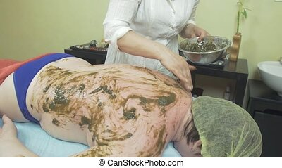 Cosmetologist smear prepared seaweed on woman back in beauty...