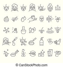 cosmetology, iconen, lineair, skincare, knapheid...