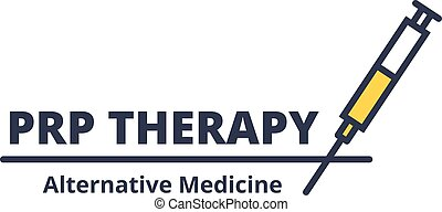 Cosmetology procedure PRP Therapy logo with syringe on white background. Facial care alternative medicine concept.