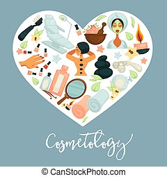 Cosmetology promotional poster with equipment for beauty procedures inside heart