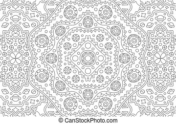 Beautiful cosmic black and white illustration for adult coloring book with abstract rectangle linear pattern