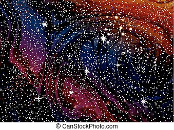 Cosmic galaxy watercolor background with stardust and shining stars.