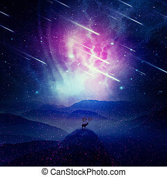 Cosmic Guardian - Majestic deer with long horns as tree...