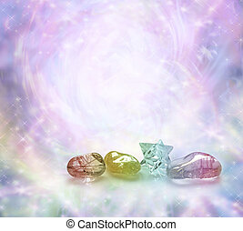 Cosmic Healing Crystals - Four rainbow colored crystals on a...