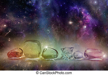 Cosmic Healing Crystals - Deep space background with...